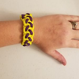 Handcrafted paracord bracelet purple and gold